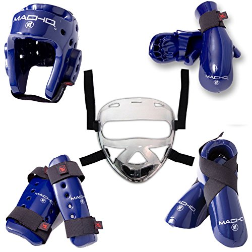 Macho Face Shield - Macho Dyna 8 piece sparring gear set with shin guards and face shield blue child large