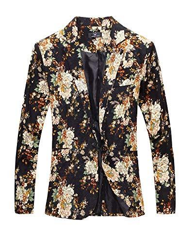 cerimonia Abbigliamento da Uomo Giacca floreale stampa Blazer giacche Uomo Schwarz Tuxedo nuziale Suit Slim Elegante formali per YqFIX