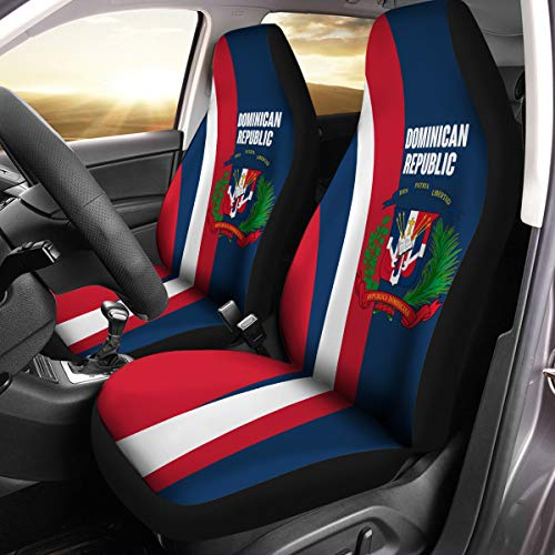- VTH Global Dominican Coat of Arms Dominican Republic Flag Car Seat Covers Set of 2 Size Universal Fit
