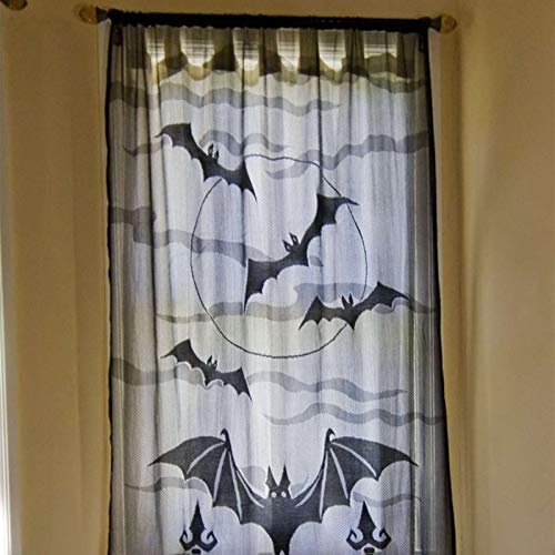 JunMu Happy Halloween Window Curtain or Door Panel with Bats Spider Web Design for Halloween Party Decoration - 40'' x 84''