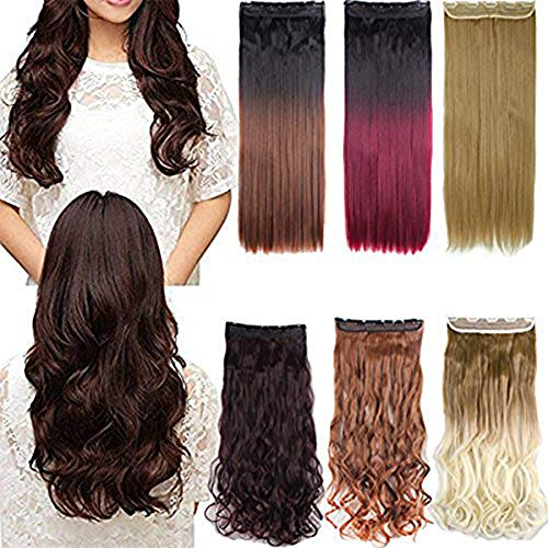 - 24-30 Inches Straight Curly 3/4 Half Full Head 1 Piece 5 Clips in Hair Extensions Dark Brown