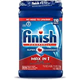 Finish Max in 1 Plus Dishwasher Detergent 110-Count Easy to use Wrapper Free Powerball Tabs in Convenient Mess Free 4 Lb Snap Top Plastic Tub Fresh Scent