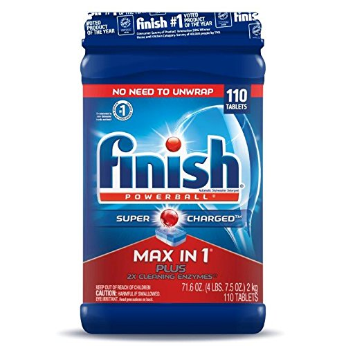 Price comparison product image Finish Max in 1 Plus Dishwasher Detergent 110-Count Easy to use Wrapper Free Powerball Tabs in Convenient Mess Free 4 Lb Snap Top Plastic Tub Fresh Scent