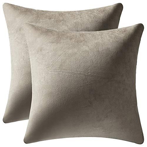 DEZENE Decorative Pillow Covers 16x16 Taupe: 2 Pack Cozy Soft Velvet Square Throw Pillow Cases for Farmhouse Home Decor