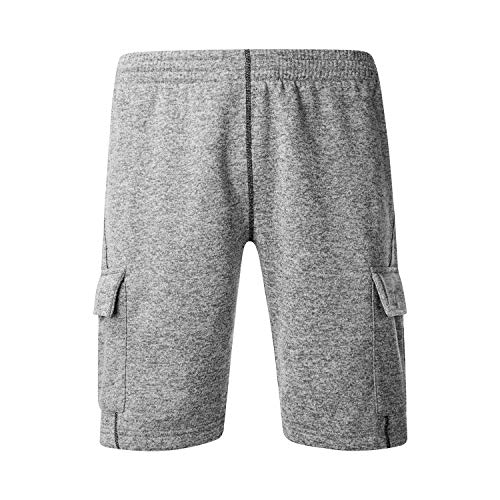 Asysst Men's Classic Fit Casual Fleece Jogger Gym Workout Short Pants with Nylon Pocket Elastic Waist Light Gray Large