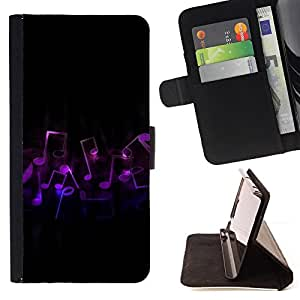 For Samsung ALPHA G850 Music Notes Art Purple Love Symbol Dance Style PU Leather Case Wallet Flip Stand Flap Closure Cover