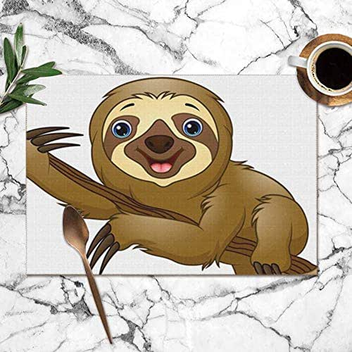 Cartoon Sloth On Tree Animals Wildlife Objects Table Placemats for Dining Table,Washable Table Mats Heat-Resistant(12X18 Inch) Set of 6
