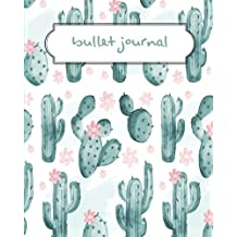 """Bullet Journal: Cactus Green Pattern Dotted Journal - 150 Pages (Size 8""""x10"""") - With Bullet Journal Ideas (Bullet Journal Notebooks): Bullet Journal Notebook"""