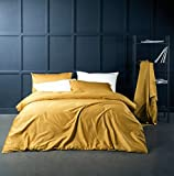 Eikei Solid Color Egyptian Cotton Duvet Cover Luxury Bedding Set High Thread Count Long Staple Sateen Weave Silky Soft Breathable Pima Quality Bed Linen (Queen