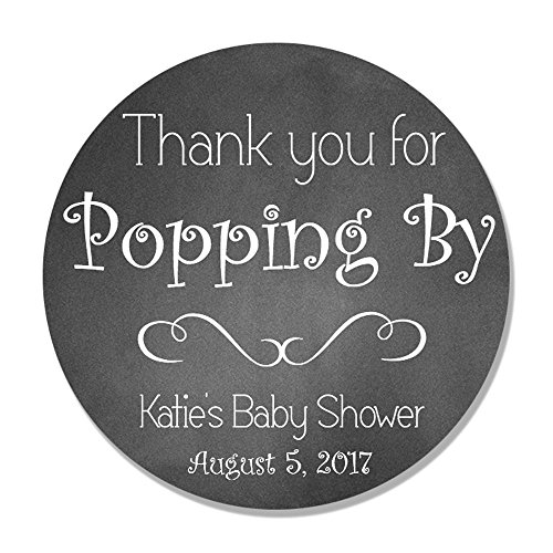 (40 Personalized Thanks for Popping By Shower Favor Label Sticker - Baby Shower Favor Tag)