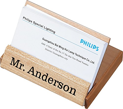 Personalized Maple Desktop & Travel Business Card Case