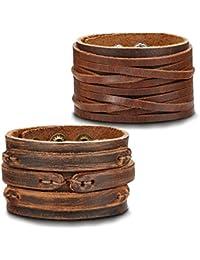 Handmade Genuine Leather Bracelet Adjustable Wide Brown Belt Cuff Bangle Punk Wristband