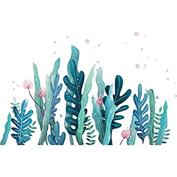 Amaonm Creative Cartoon Removable 3D Under The Sea World Nature Scenery Wall Stickers Ocean Grass Colorful Seaweed Baseboard Wall Decal for Wall Corner Nursery Room Bathroom Living Room Coral