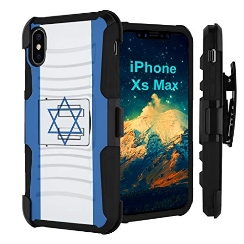 Capsule Case Compatible with iPhone Xs Max [Hybrid Layer Shockproof Protector Kickstand Belt Clip Holster Case Black] - (Israel Flag)