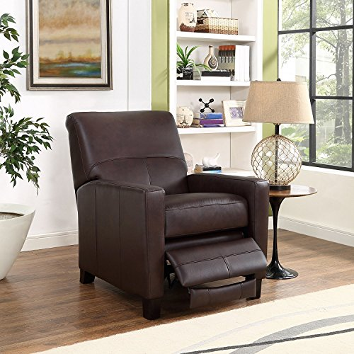 Recliner Leather Leg (Amax Leather Conway Recliner, Dark Brown)