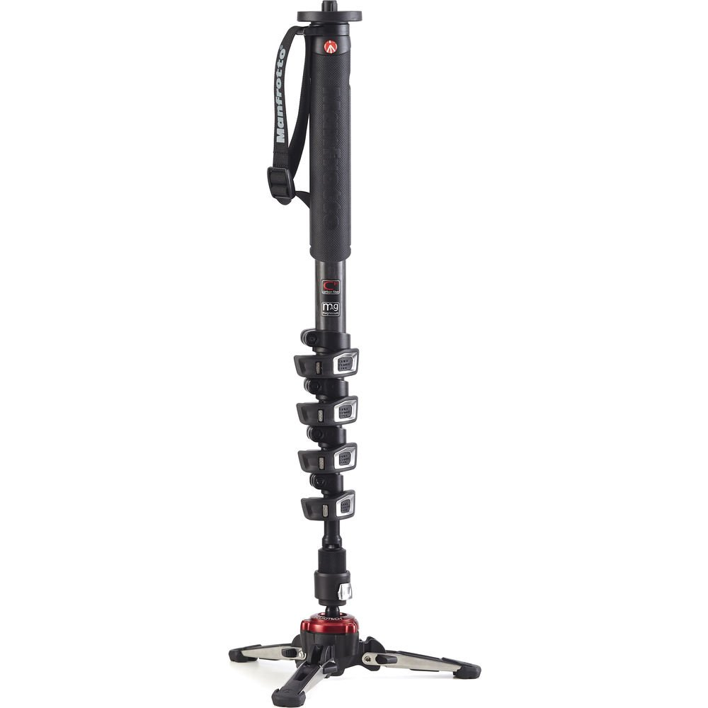 Manfrotto Xpro 5 Section Carbon Fiber Video Monopod, Black.