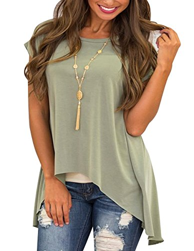 Women Tunic Tops Summer Short Sleeve Back Slit Blouses Loose Fit Tunic Blouses Top Dress (S=US 2-4, Green) (Slit Top Back)