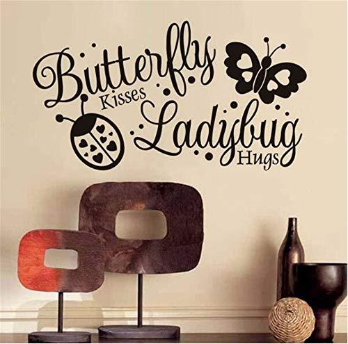 Wadyx Art Decal Butterfly Kiss Ladybug Hug Wall Sticker Vinyl Art Self-Adhesive Wallpaper Baby Room Home Children Bedroom Living Room Decoration 80 cm X 43 cm