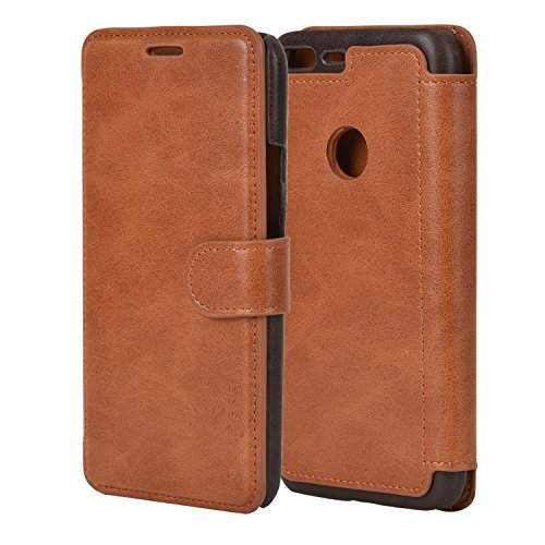 Google Pixel XL Case - PU Leather Flip Case Cover with Wallet for Google Pixel XL [5.5 Inch] 2016 Model,Cognac Brown