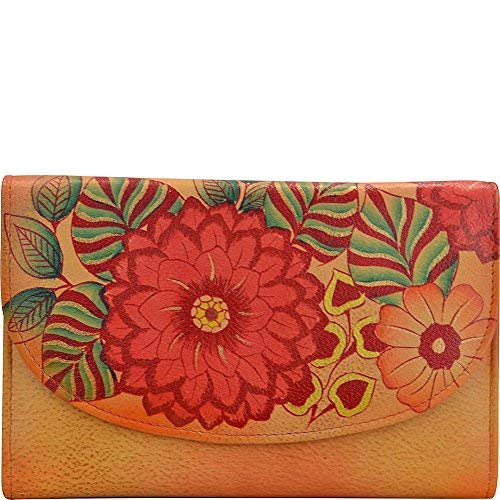 Anuschka Wallet Leather - Anna by Anuschka Hand Painted Leather | Large Three Fold Checkbook Wallet/Clutch | Summer Bloom
