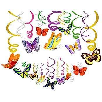 Amazon.com: 30Ct Spring Butterfly Hanging Swirl