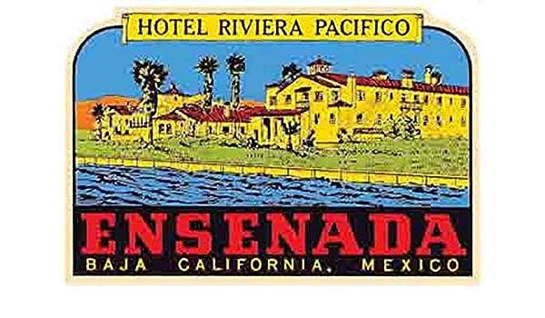 Ensenada Baja California Mexico Hotel Riviera Pacifico Vintage Decal Sticker Souvenir