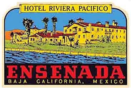 Ensenada Baja California Mexico Hotel Riviera Pacifico Vintage Decal Sticker Souvenir