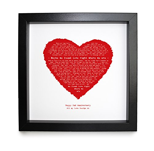 Ed Sheeran, Thinking Out Loud Personalised Print Heart - Ideal Wedding Anniversary Romantic Gift