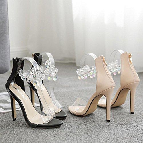 Cristal Mode Haut De Womans Soirée Janlyâ® De Noires De Transparentes Filles Été Chaussures Mariage Talons Chaussures Sandales ncqWEWwYSR