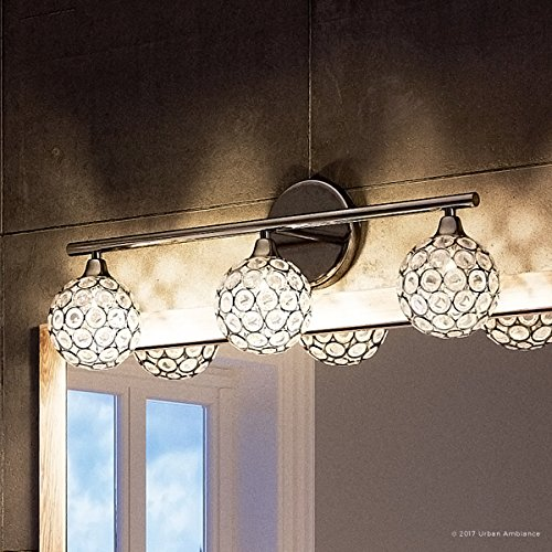Luxury Crystal Globe LED Bathroom Vanity Light, Medium Size: 8''H x 23''W, with Modern Style Elements, Polished Chrome Finish and Crystal Studded Shades, G9 LED Technology, UQL2631 by Urban Ambiance by Urban Ambiance