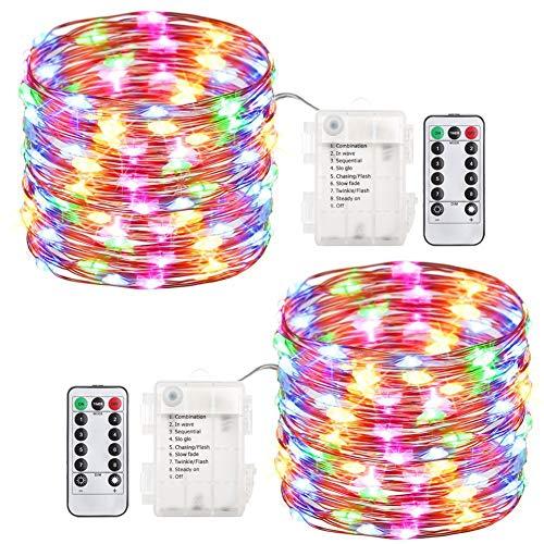 Pack de 12 luces LED de luna Halloween, pilas incluidas 20 micro LED estrelladas en alambre de plata de 2 m de graduación...
