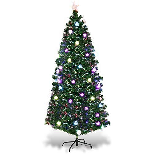 6 Fiber Optic Christmas Tree With Led Multicolor Lights