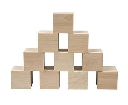 Amazoncom 50pcs Unfinished Wooden Blocks Blank Square Wood For