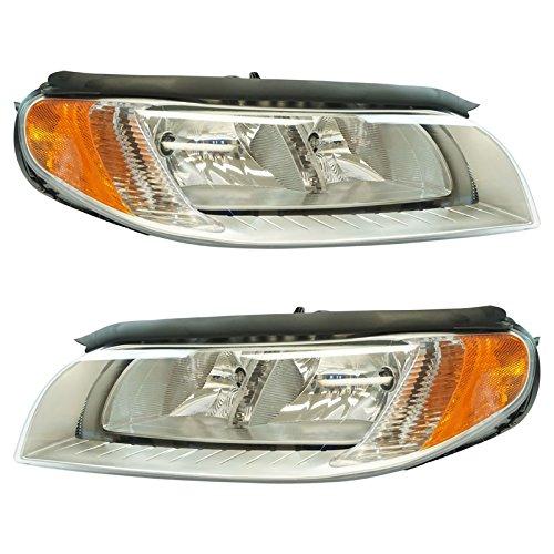Halogen Headlight Lamp Assembly Pair Driver & Passenger Set for Volvo V70 ()