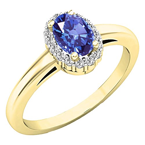 Dazzlingrock Collection 14K 6X4 MM Oval Tanzanite & Round Diamond Ladies Halo Engagement Ring, Yellow Gold, Size 7.5 ()