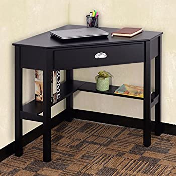 Tangkula Corner Computer Desk Home Office Wood with Storage Shelf Laptop PC Table Writing Study Table Workstation (black with drawer)