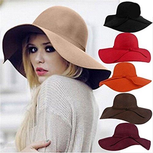 XJG Hats for Women Wide Brim Floppy Sun Beach Caps Feminino Cappelli Sombreros Chapeus Vintage Black Feltro Bowler De Lana Mujer Floppy Gorros Hats Summer Hat Ladies (Color Coffee)