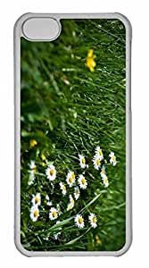 iPhone 5C Case, Personalized Custom Field Of Grass And Flowers for iPhone 5C PC Clear Case