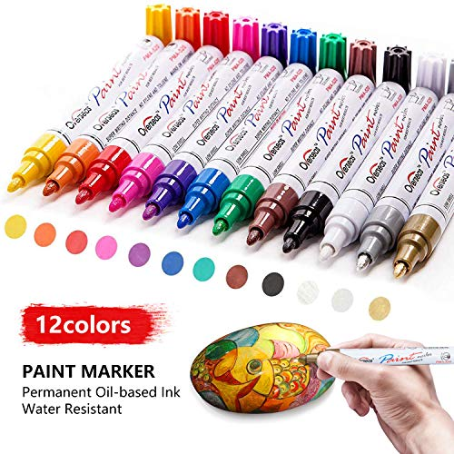 Deco Paint Markers (Paint Pens Paint Markers on Almost Anything Never Fade Quick Dry and Permanent, Oil-Based Waterproof Paint Marker Pen Set for Rocks Painting, Wood, Fabric, Plastic, Canvas, Glass, Mugs, DIY)