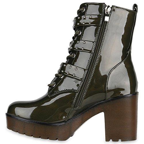 Stiefelparadies Damen Stiefeletten Plateau Boots Lack Schuhe Nieten Blockabsatz Flandell Dunkelgrün