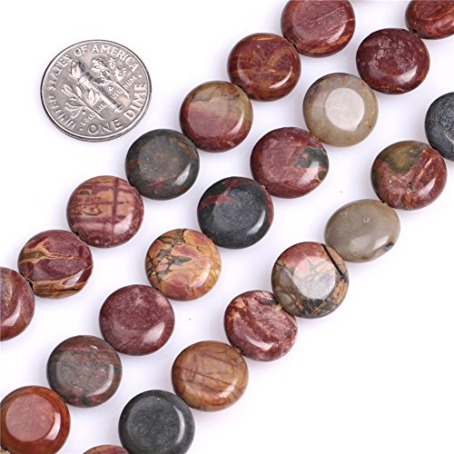 - Picasso Jasper Beads for Jewelry Making Natural Semi Precious Gemstone 12mm Coin Strand 15