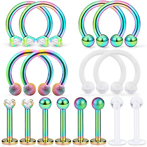 Dyknasz 16Pcs Surgical Steel Lip Rings Clear Diamond CZ Labret Studs Tragus Horseshoe Ring Helix Hoop Earring Body Jewelry Piercing Retainer for Women Men 16 Gauge 8mm Rainbow