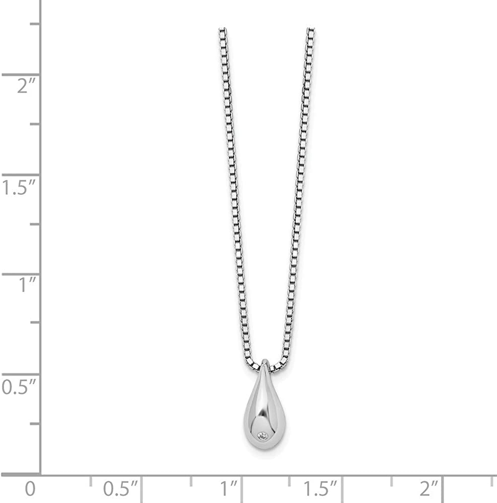 18 White Ice Sterling Silver Diamond Teardrop Necklace