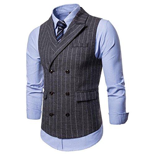 Men's Business Suit Vest Jacket Slim Fit Casual Party Skinny Dress Separate Waistcoat (Gray, L) by Elogoog Men Apparel