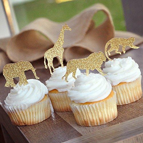 Bozoa (30 pcs) Gold Glitter Jungle Safari Animal Cupcake Toppers Picks Jungle Animals Cake Decorations for Jungle safari Animals Party Baby Showers Birthday Party by Bozoa (Image #2)'