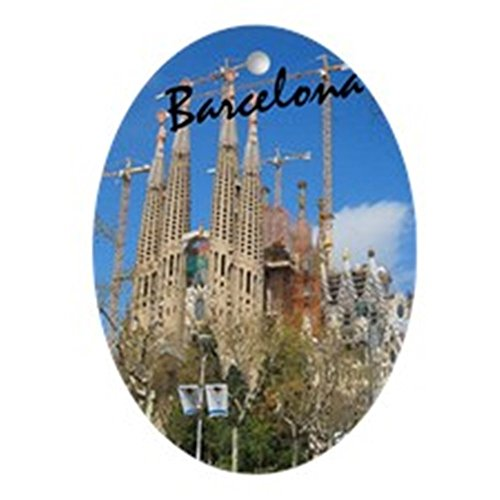 CafePress Barcelona_5.5X8.5_Journal_Lasagrdafa Oval Holiday Christmas Ornament