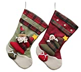 """YAMUDA Set of 2pack 3D Christmas Stockings 17.8"""" Long for Christmas decoration Best Choice for Christmas gift"""
