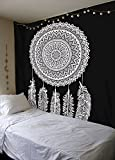 Black And White Tapestry, DreamCatcher Tapestry Wall Hanging, Mandala Tapestries, Indian Traditional Cotton Printed Bohemian Hippie Extra Small Wall Art by SheetKart