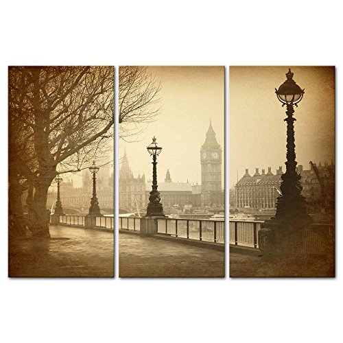 3 pieces modern canvas painting wall art the picture for home decoration big ben london street lamp tree in late autumn in vintage style streetscape print