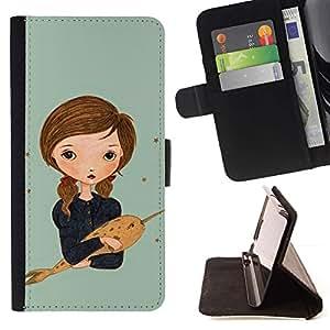 For Sony Xperia Z5 Compact Z5 Mini (Not for Normal Z5) Case , Narwhal sueño Muchacha de la pintura del arte- la tarjeta de Crédito Slots PU Funda de cuero Monedero caso cubierta de piel